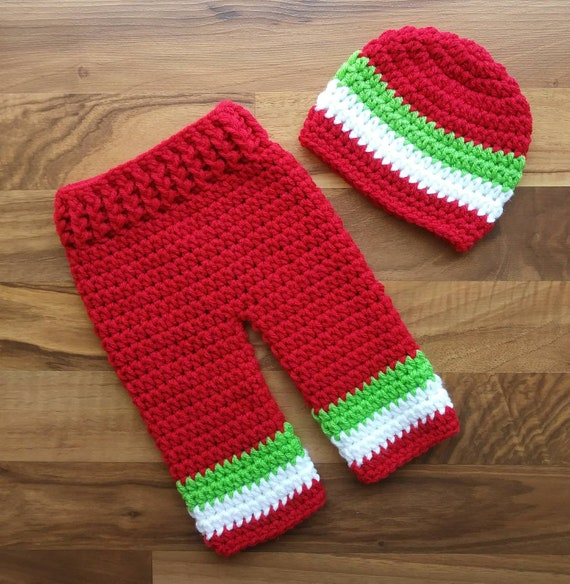 Crocheted Baby Boy Christmas Hat and Pants Set ~ Bright Red, White & Lime Green ~ Photo Prop ~ Newborn (0-2 Month) ~ MADE TO ORDER