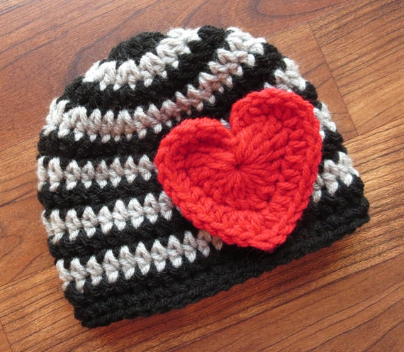 Crocheted Baby Valentine's Day Hat ~ Black & Silver Gray Stripes with Bright Red Heart ~ Photo Prop ~ Newborn to Teen Size ~ MADE TO ORDER