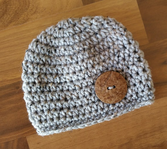 Crocheted Baby Boy Hat ~ Gray Tweed with Coconut Shell Button ~ Baby Shower Gift ~ Photo Prop ~ Newborn to Teen Size ~ MADE TO ORDER