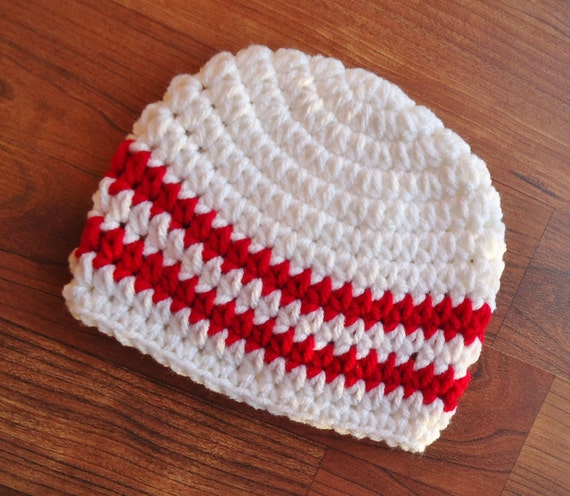 Crocheted Baby Boy Hat ~ White & Red ~ Valentine's Day or Christmas ~ Baby Shower Gift ~ Photo Prop ~ Newborn to Teen Size ~ MADE TO ORDER