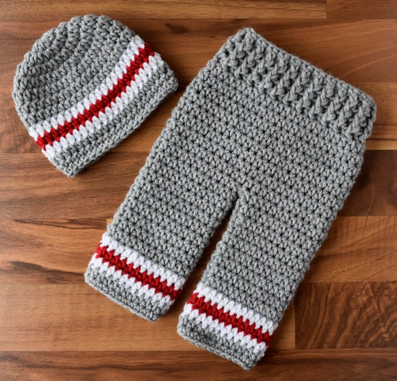 Crocheted Baby Boy Pants and Hat Set ~ Silver Gray, Bright Red & White ~ Baby Gift or Photo Prop ~ Newborn (0-2 Month) ~ MADE TO ORDER