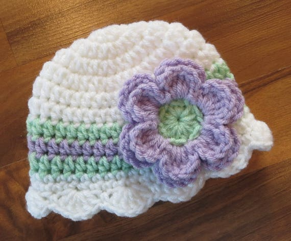 Crocheted Baby Girl Hat with Flower ~ White, Lavender & Mint Green ~ Baby Shower Gift ~ Photo Prop ~ Newborn to Teen Size ~ MADE TO ORDER