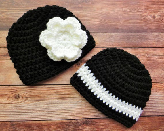 Crocheted Baby Boy/Girl Twin Hat Set ~ Black & White ~ Baby Shower Gift ~ Newborn Photo Prop ~ Winter Hats ~ Newborn to 5T ~ MADE TO ORDER