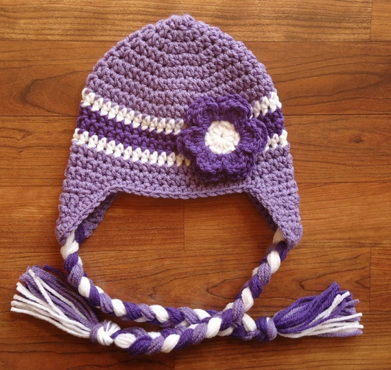 Crocheted Baby Girl Ear Flap Hat with Braided Ties and Flower ~ Lilac, Violet & White ~ Newborn to Teen Size ~ MADE TO ORDER