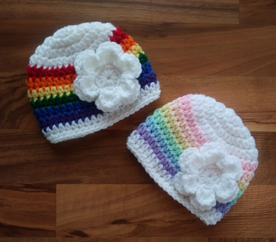 "Crocheted Baby Girl/Girl Twin Hat Set ~White ""Rainbow Baby"" Hats with Flowers ~ Pastel and Bright ~ Newborn to 5T ~ MADE TO ORDER"