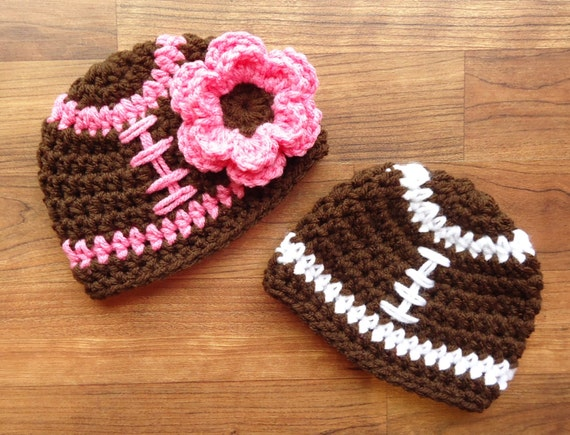 Crocheted Baby Boy/Girl Twin Football Hat Set ~ Chocolate Brown with White & Pink Laces ~ Baby Shower Gift ~ Newborn to 5T ~ MADE TO ORDER