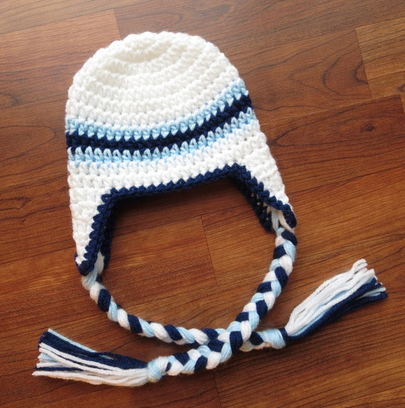 Crocheted Baby Boy Earflap Hat with Braided Ties ~ White,Baby Blue & Bright Navy Blue ~ Baby Gift ~ Newborn to Teen Size ~ MADE TO ORDER