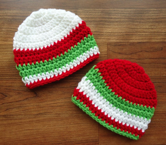 Crocheted Twin Baby Boy Christmas Hats with Stripes ~ Bright Red, White & Lime Green ~ Baby Shower Gift ~ Newborn to 5T ~ MADE TO ORDER