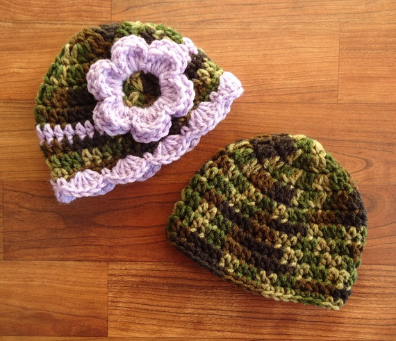 Crocheted Baby Boy/Girl Hat Set ~ Camouflage & Lavender Purple ~ Baby Shower Gift ~ Photo Prop ~ Newborn to 5T ~ MADE TO ORDER