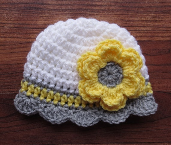 Crocheted Baby Girl Hat ~ White, Daffodil Yellow & Silver Gray ~ Baby Shower Gift ~ Photo Prop ~ Newborn to Teen Size ~ MADE TO ORDER