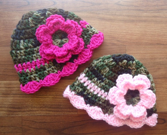 Crocheted Baby Girl/Girl Twin Hat Set ~ Camouflage with Dark Pink & Baby Pink ~ Baby Shower Gift ~ Newborn to 5T ~ MADE TO ORDER