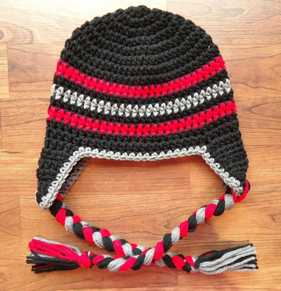 Crocheted Baby Boy Ear Flap Hat with Braided Ties ~ Black, Red & Pewter Gray ~ Winter Hat ~ Photo Prop ~ Newborn - Teen Size ~ MADE TO ORDER
