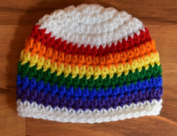 Crocheted Baby Boy Hat ~ Rainbow Baby ~ White with Rainbow Stripes ~ Baby Shower Gift ~ Photo Prop ~ Newborn to Teen Size ~ MADE TO ORDER""