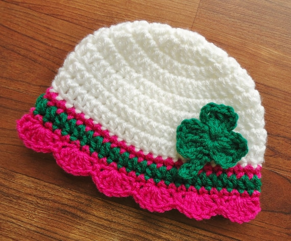 Crocheted Baby Girl St. Patrick's Day Hat ~ White with Fuchsia & Kelly Green ~ Green Shamrock ~ Newborn to Teen Size ~ MADE TO ORDER