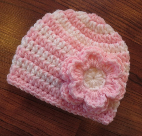 Crochete Baby Girl Hat with Flower ~ White & Baby Pink Stripes ~ Baby Shower Gift ~ Photo Prop ~ Newborn to Teen Size ~ MADE TO ORDER