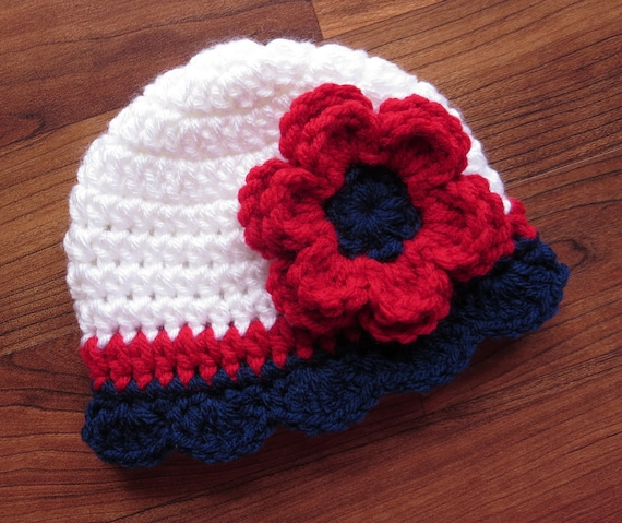 Crocheted Baby Girl Fourth of July Hat ~ Red, White & Blue Baby Hat with Ruffled Edge ~ Baby Gift ~ Newborn to Teen Size ~ MADE TO ORDER