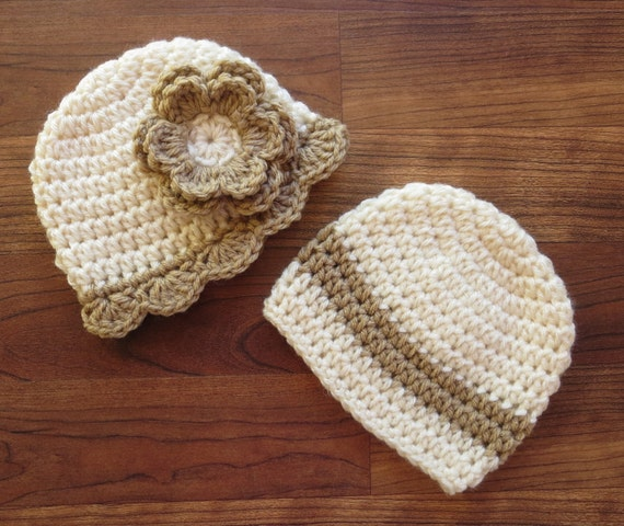 Crocheted Baby Boy/Girl Twin Hat Set ~ Cream & Tan ~ Baby Shower Gift ~ Photo Prop ~ Winter Hats ~ Newborn to 5T ~ MADE TO ORDER