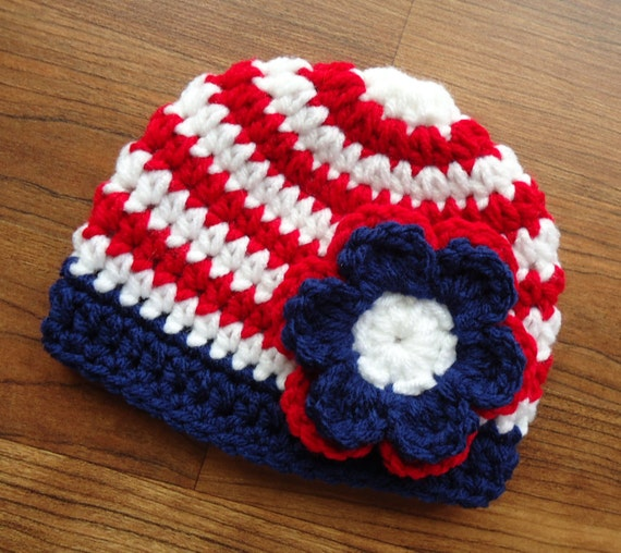 Crocheted Baby Fourth of July Hat ~ Red & White Stripes with Bright Navy Blue Trim and Flower ~ Newborn to Teen Size ~ MADE TO ORDER