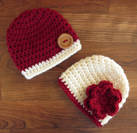 Crocheted Baby Boy/Girl Twin Hat Set ~ Cranberry Red & Cream ~ Baby Shower Gift ~ Photo Prop ~ Holiday Hats ~ Newborn to 5T ~ MADE TO ORDER
