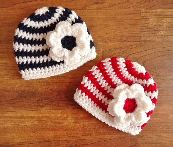 Crocheted Baby Girl/Girl Twin Hat Set ~White with Red or Dark Navy Blue Stripes with Flowers ~ Baby Shower ~ Newborn to 5T ~ MADE TO ORDER