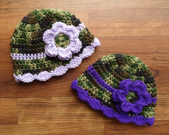 Crocheted Baby Girl/Girl Twin Hat Set with Flowers ~ Camouflage with Royal Purple & Lavender ~ Baby Gift ~ Newborn to 5T ~ MADE TO ORDER