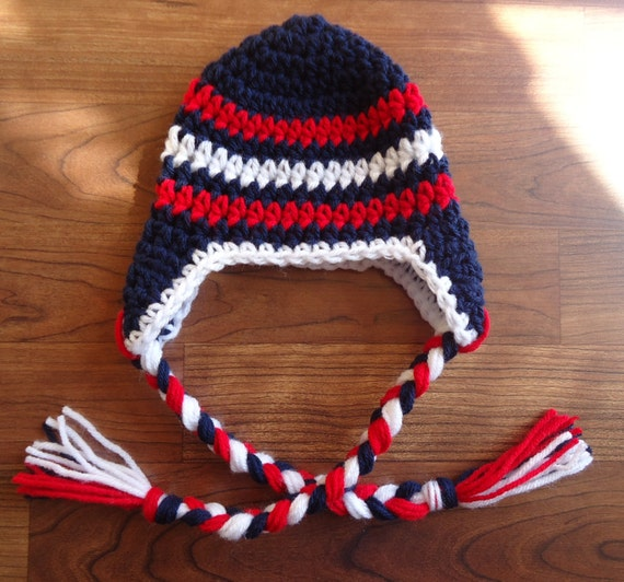 Crocheted Baby Boy Ear Flap Hat with Braided Ties ~ Dark Navy Blue, Red & White ~ Winter Hat ~ Newborn to Teen Size ~ MADE TO ORDER