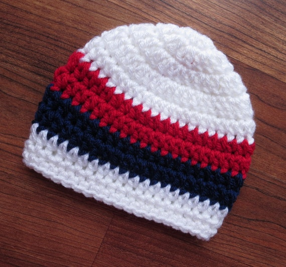 Crocheted Baby Boy Hat ~ White, Red & Dark Navy Blue ~ Fourth of July ~ Baby Shower Gift ~ Photo Prop ~ Newborn to Teen Size ~ MADE TO ORDER