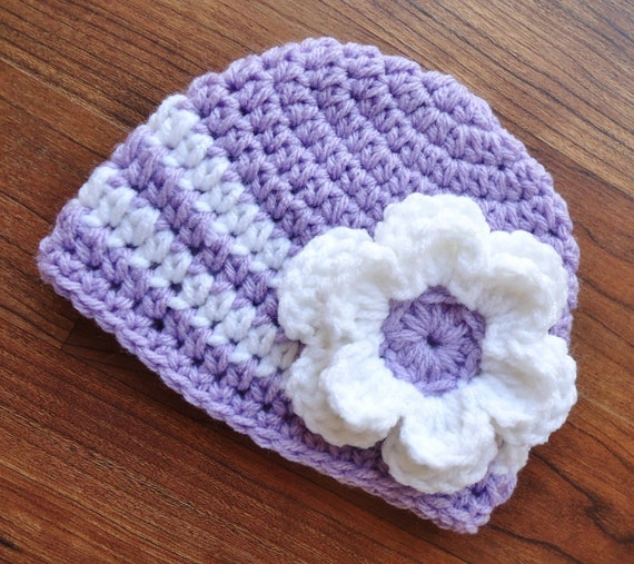 Crocheted Baby Girl Hat with Flower ~ Lavender & White ~ Baby Shower Gift ~ Newborn Photo Prop ~ Newborn to Teen Size ~ MADE TO ORDER
