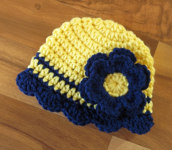 Crocheted Baby Girl Hat ~ Daffodil Yellow & Bright Navy Blue with Ruffled Edge ~ Baby Shower Gift ~ Newborn to Teen Size ~ MADE TO ORDER
