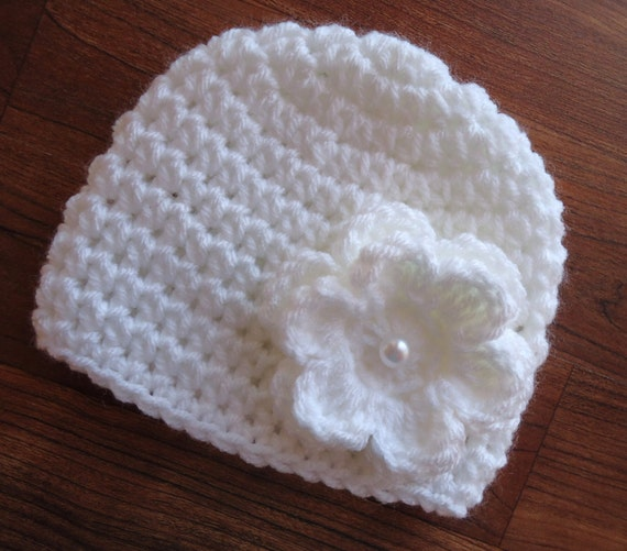 Crocheted Baby Girl Hat ~ White Hat with White Flower with Faux Pearl Button ~ Christening Hat ~ Newborn to Teen Size ~ MADE TO ORDER