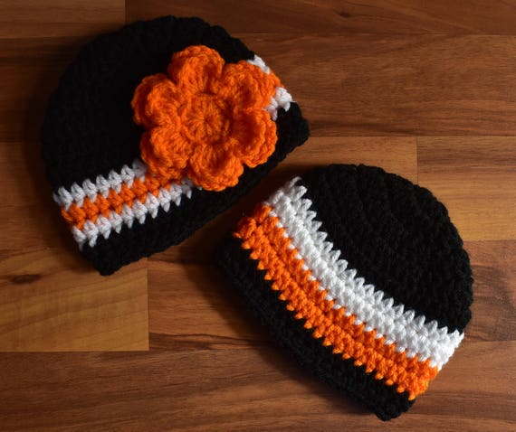Crocheted Baby Boy/Girl Twin Hat Set ~ Black, Bright Orange & White ~ Halloween ~ Harley Davidson Themed ~ Newborn to 5T ~ MADE TO ORDER
