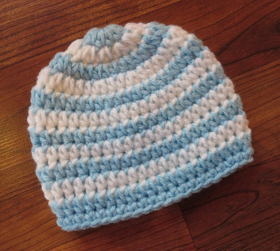 Crocheted Baby Boy Hat ~ Baby Blue & White Stripes ~ Baby Shower Gift ~ Photo Prop ~ Hospital Hat ~ Newborn to Teen Size ~ MADE TO ORDER