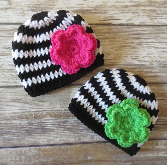 Crocheted Baby Girl/Girl Twin Hat Set ~ Black & White Stripes with Fuchsia and Lime Flowers ~ Baby Gift ~ Newborn to 5T ~ MADE TO ORDER