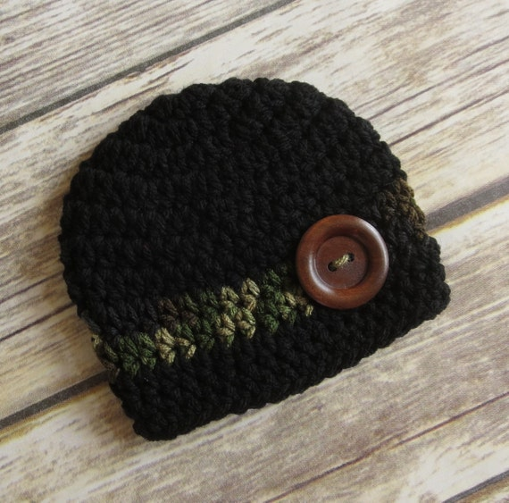 Crocheted Baby Boy Hat with Wooden Button ~ Black & Camouflage ~ Baby Shower Gift ~ Photo Prop ~ Newborn to Teen Size ~ MADE TO ORDER