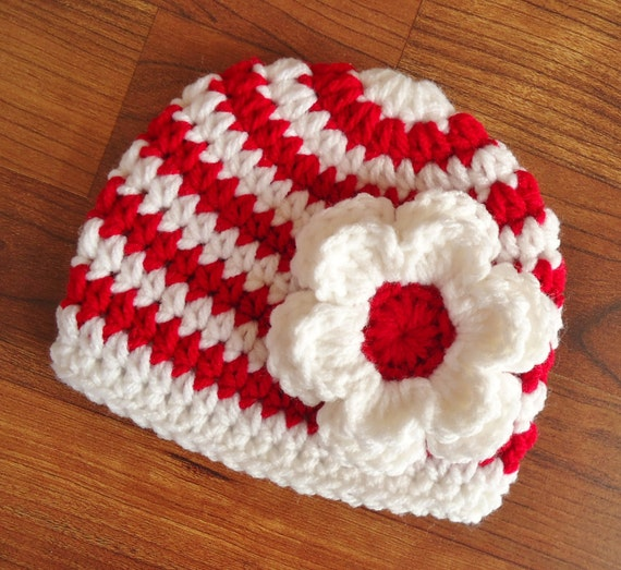 Crocheted Baby Girl Hat with Flower ~ Red & White Stripes ~ Baby Gift ~ Christmas or Valentine's Day ~ Newborn to Teen Size ~ MADE TO ORDER