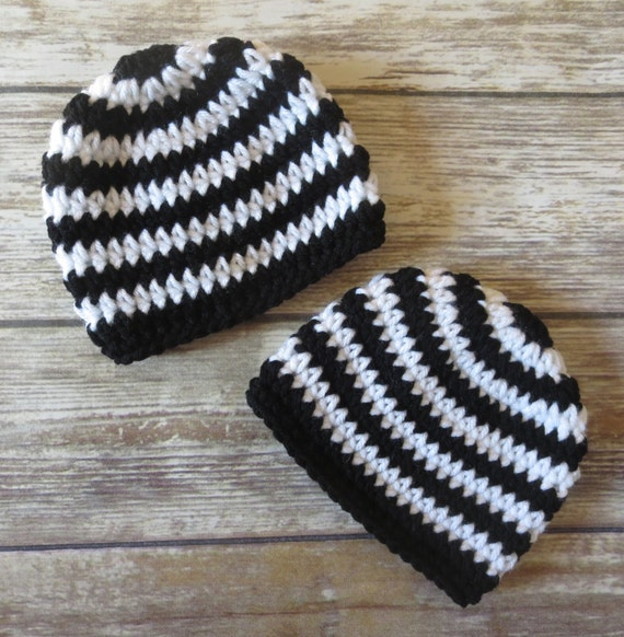 Crocheted Baby Boy/Boy Twin Hat Set ~ Black & White Stripes ~ Baby Shower Gift ~ Identical Striped Twin Hats ~ Newborn to 5T ~ MADE TO ORDER