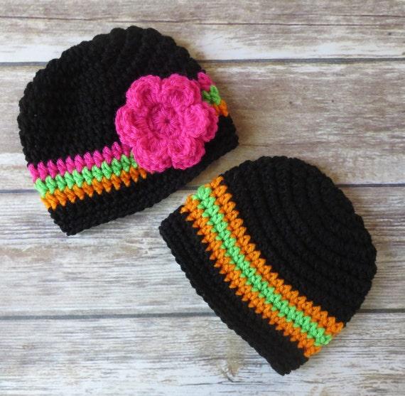 Crocheted Baby Twin Boy/Girl Halloween Hat Set ~ Black, Orange, Lime Green & Fuchsia Pink ~ Newborn to 5T ~ MADE TO ORDER