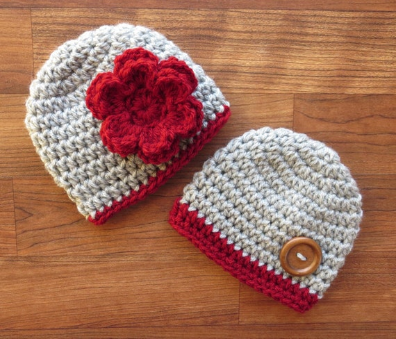 Crocheted Baby Boy/Girl Twin Hat Set ~ Silver Gray Heather & Cranberry Red ~ Baby Shower Gift ~ Photo Prop ~ Newborn to 5T ~ MADE TO ORDER