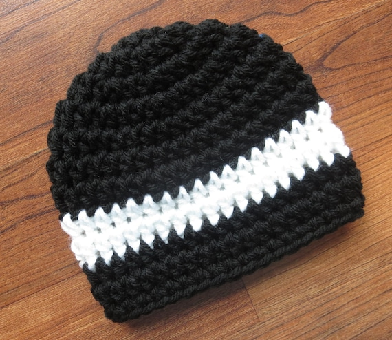 Crocheted Baby Boy Hat ~ Black & White ~ Baby Shower Gift ~ Photo Prop ~ Winter Hat ~ Newborn to Teen Size ~ MADE TO ORDER
