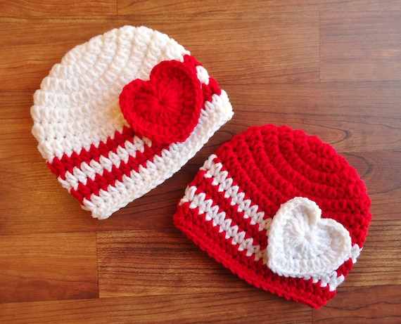 Crocheted Baby Twin Valentine's Day Hat Set ~ Red & White Hats with Hearts ~ Valentine's Day Baby Hats ~ Newborn to 5T ~ MADE TO ORDER
