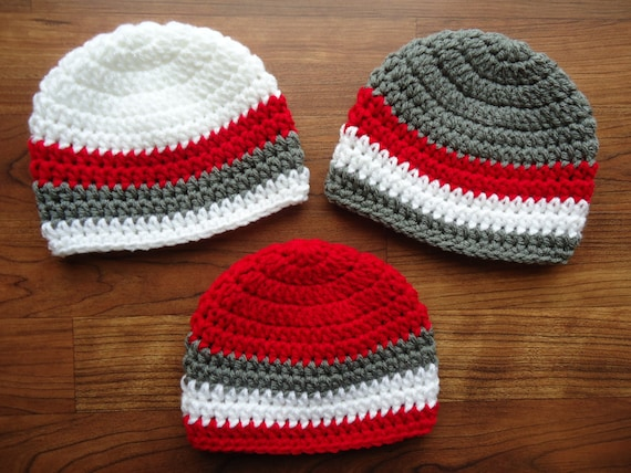 Crocheted Baby Boys Triplet Hat Set ~ Pewter Gray, Bright Red, White Hat Set ~ Baby Shower Gift ~ Newborn to 5T ~ MADE TO ORDER