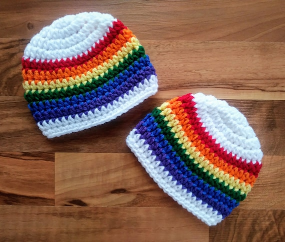 "Crocheted Baby Twin Boy/Boy Hat Set ~White ""Rainbow Baby"" Hat Set ~ Baby Shower Gift ~ Photo Prop ~ Newborn to 5T ~ MADE TO ORDER"