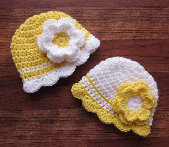 Crocheted Baby Girl/Girl Twin Hat Set ~ Daffodil Yellow & White with Flowers ~ Baby Shower Gift ~ Newborn to 5T ~ MADE TO ORDER