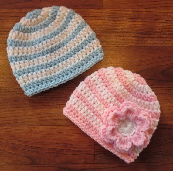 Crocheted Baby Boy/Girl Twin Hat Set ~ Baby Blue, Baby Pink & White Stripes ~ Baby Shower Gift ~ Photo Prop ~ Newborn to 5T ~ MADE TO ORDER