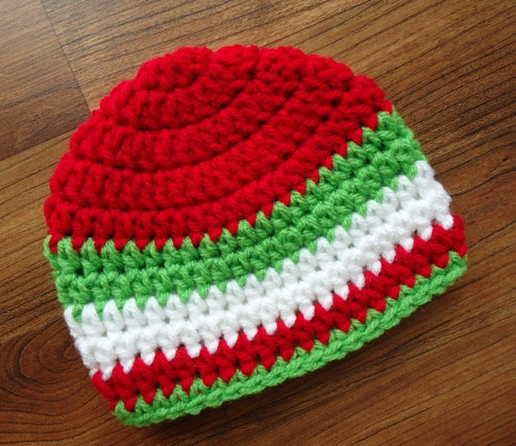Crocheted Baby Boy Christmas Hat with Stripes ~ Bright Red, Lime Green & White ~ Baby Gift ~ Newborn to Teen Size ~ MADE TO ORDER