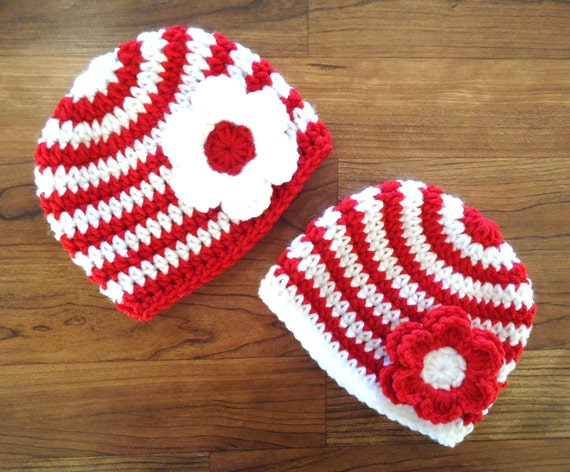Crocheted Baby Girl/Girl Twin Hat Set ~ Bright Red & White Stripe with Flower ~ Christmas or Valentine's Day ~ Newborn to 5T ~ MADE TO ORDER