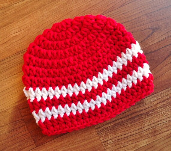 Crocheted Baby Boy Hat ~ Red & White ~ Valentine's Day Hat ~ Baby Shower Gift ~ Photo Prop ~ Newborn to Teen Size ~ MADE TO ORDER