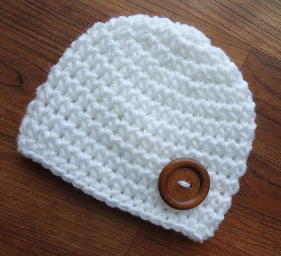 Crocheted White Baby Boy Hat with Wooden Button ~ Christening Hat ~ Baby Shower Gift ~ Photo Prop ~ Newborn to Teen Size ~ MADE TO ORDER