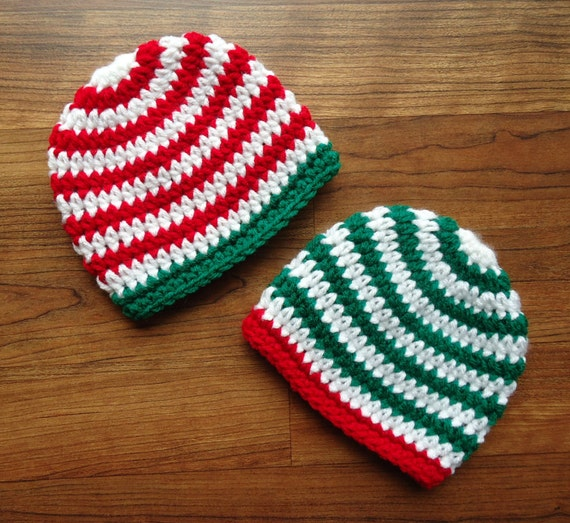 Crocheted Baby Twin Boys Christmas Hats ~ Bright Red & Kelly Green with White Stripes ~ Baby Shower Gift ~ Newborn to 5T ~ MADE TO ORDER