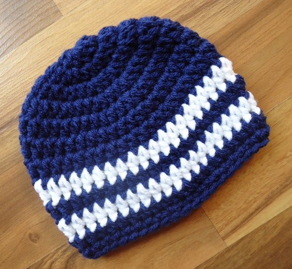 Crocheted Baby Boy Hat ~ Bright Navy Blue & White ~ Baby Shower Gift ~ Photo Prop ~ Winter Hat ~ Newborn to Teen Size ~ MADE TO ORDER